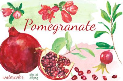 Pomegranate watercolor clip art