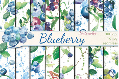 Blueberry watercolor seamless patterns