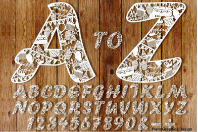 Alphabet and Numbers with Happy Birthday elements SVG files.