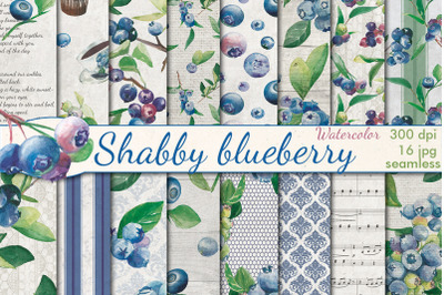 Shabby Blueberry watercolor seamless patterns