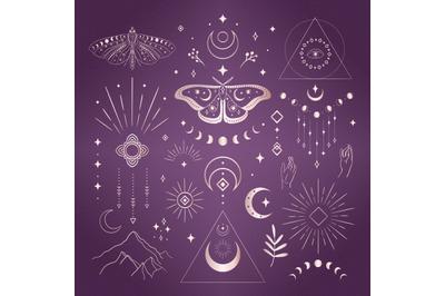 Divine Beauty Logo Design Elements. Esoteric mystic symbols. Tattoo.