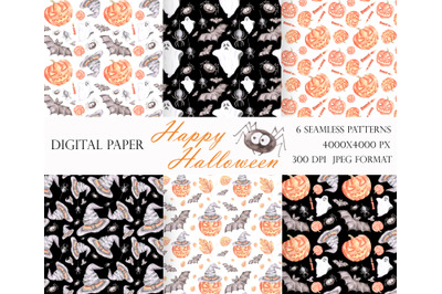 Halloween watercolor digital paper. Halloween seamless pattern. Horror