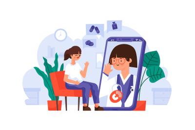 Online Doctor Calling Coronavirus Pandemic Edition Flat Illustration