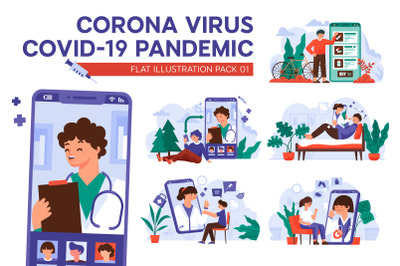 Corona Virus Covid-19 Pandemic Flat Illustration Package