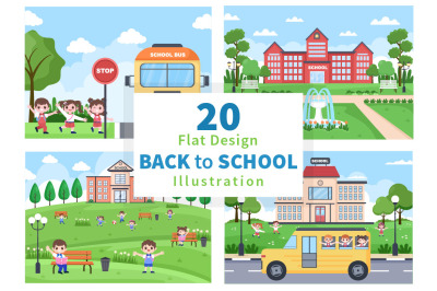 20 Back To School and Cute Bus Illustration