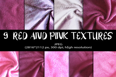 9 Red and Pink Digital Papers. Red and Pink Textures Background.