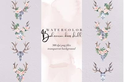 9 Boho Deer Watercolor Flowers Designs, Boho Chic Floral PNG, Clipart