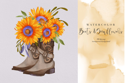 Boots And Sunflower PNG, Summer Flowers Water Color, Cowgirl, Clipart