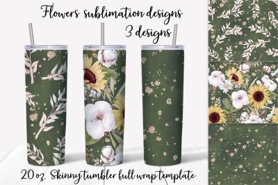 Sunflowers sublimation design. Skinny tumbler wrap design.
