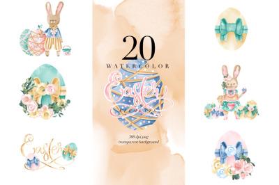 Watercolor Easter Elements, Bunny Eggs, Transparent PNG, Clipart