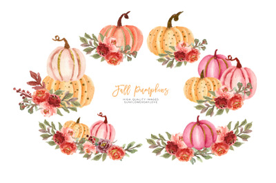 Marsala Autumn Pumpkin Clipart, Fall Pumpkin watercolor