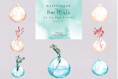 Watercolor Home Plant, Glass Vase V1 PNG, Decor Nature, Clipart