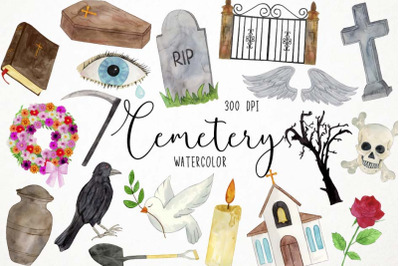 Watercolor Cemetery Clipart, Funeral Clipart, Burial Clipart, Tomb