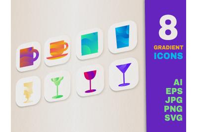 Gradient Drink Icons Set