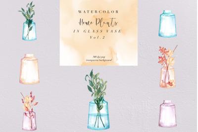 Watercolor Home Plants Clipart, Glass Vase PNG vol.2, Nature, Clipart