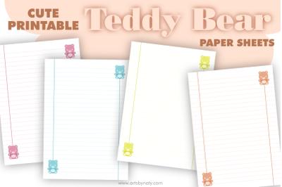 Cute printable Teddy Bear paper sheets.