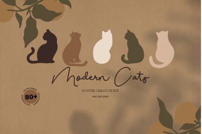 Modern cats & abstract geometric.