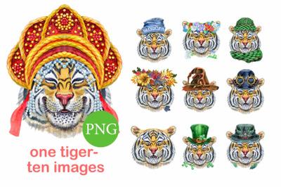Watercolor orange tiger