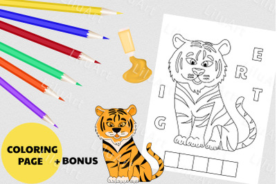 Tiger coloring page for kids. Painted Tiger vector