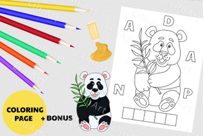 Panda coloring page for kids. Painted Panda vector