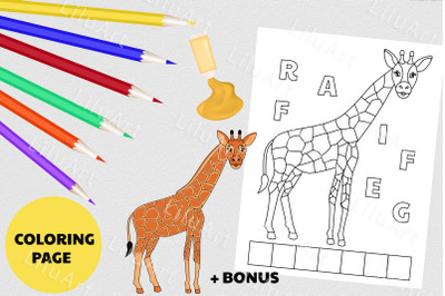 Giraffe coloring page for kids. Painted Giraffe vector