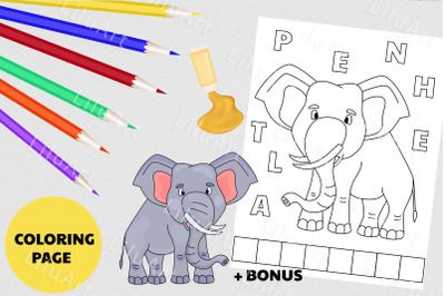 Elephant coloring page for kids. Painted Elephant vector