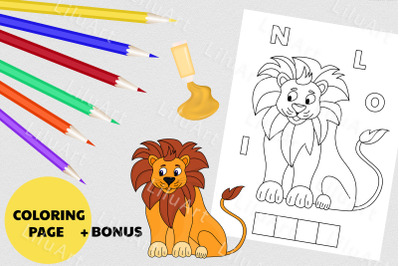 Lion coloring page for kids. And painted lion vector file