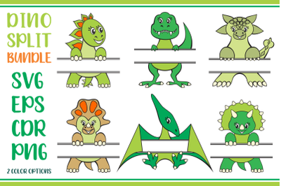 Dino SVG Monogram Split Bundle