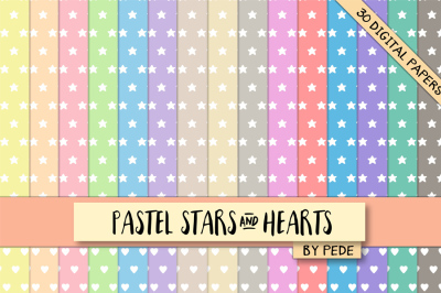 Stars and hearts digital paper pack