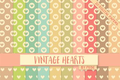 Vintage hearts digital paper