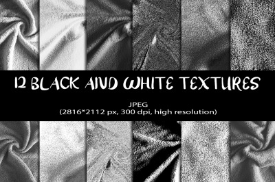 12 Black and White Digital Papers. Black and White Textures Background