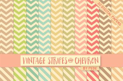 Pastel vintage chevron and stripes digital paper
