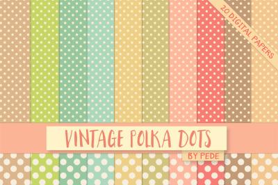 Pastel vintage polka dots digital paper