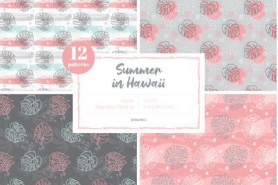 Summer in Hawaii Vector Patterns