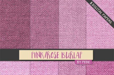 Pink burlap digital paper pack