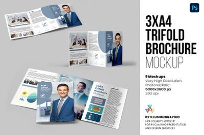3xA4 Trifold Brochure Mockup - 9 views