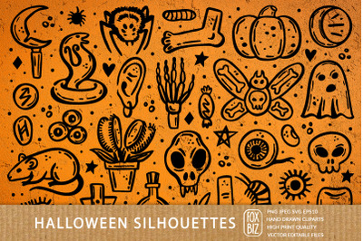 Spooky Halloween silhouettes. Png, Svg