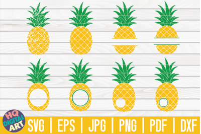 Pineapple Monogram Frames SVG Bundle | 8 Designs