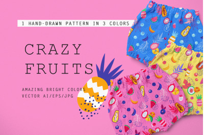 Crazy Fruits -  3 Patterns Collection