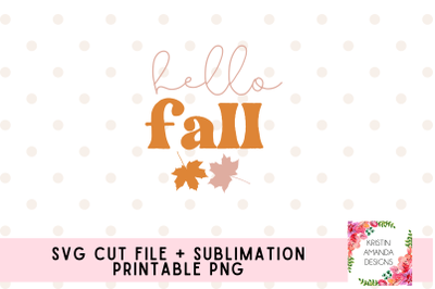 Hello Fall SVG and Sublimation PNG