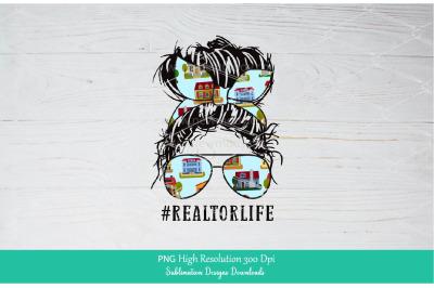 Realtor Life PNG Sublimation Design Downloads - Messy Bun Mom Life PNG