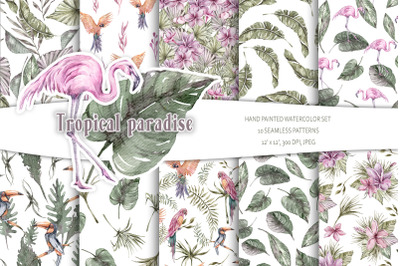 Watercolor tropical digital paper / seamless patterns