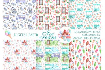 Ice cream watercolor seamless pattern. Ice cream digital paper.