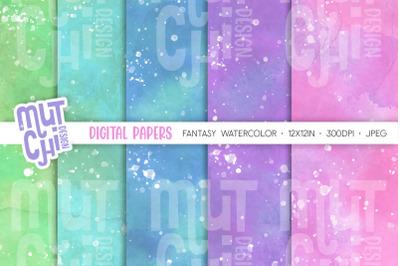 Fantasy Watercolor Digital Paper Set