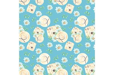 Summer watercolor seamless pattern. Camera, straw hat, daisies