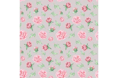 Pink flowers watercolor seamless pattern. Peonies, roses, leaves