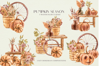 Halloween pumpkin clipart- 5 bohemian interior illustrations
