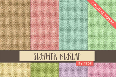 Summer burlap digital paper pack