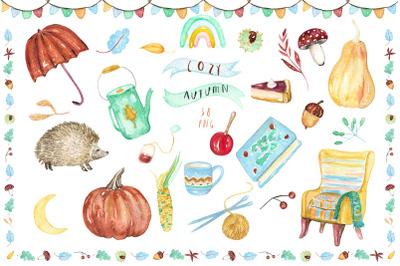 Cozy autumn. Watercolor Clipart