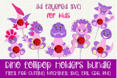 Dino Lollipop Holders SVG bundle